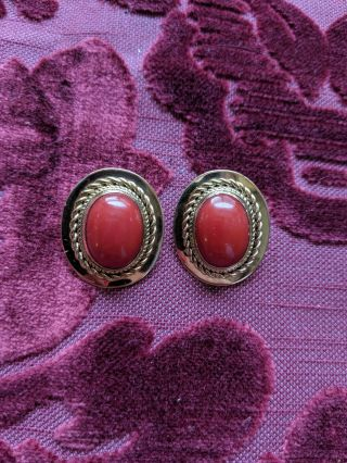 Antique Large Oval Red Coral 22kt Yellow Gold Classic Clip On Earrings