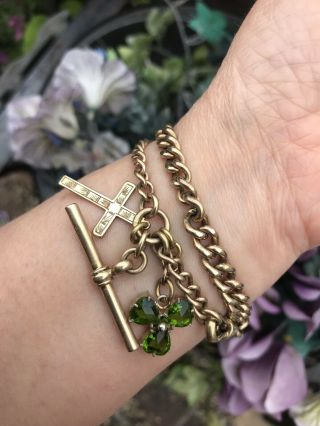 Antique Vintage 18ct Gold Filled Albert Chain / Link Bracelet With Charms