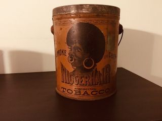 Vintage 1800s N - Hair Tobacco Tin - Pre Biggerhair - Antique - Black Americana