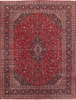 Vintage Traditional Floral Red Persian Oriental Hand - Knotted 10x13 Area Rug Wool