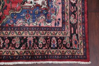 Vintage Traditional Floral Coral Red Hamadan Area Rug Hand - Knotted Oriental 7x10
