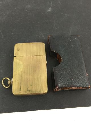 Vintage Brass Plated Semi Automatic Grater Pocket Lighter & Leather Case Germany