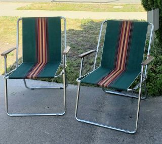2 Vintage Green Zip Dee Rv Camping Lawn Chair Hunting Fishing