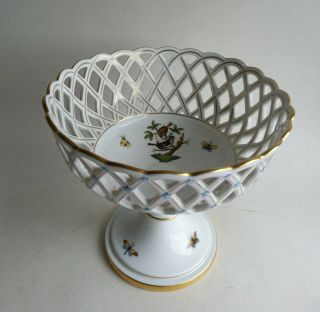Rare Old Stock Herend Rothschild Birds Dish On Stand 7489 Ro Openworked