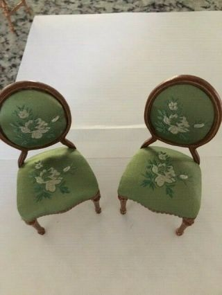 Dollhouse Miniature Two Hansson Oval Back Side Chairs W/green Embroidered Satin