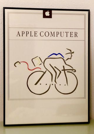 Vintage Apple Computer Poster 'wheels For The Mind',  Bicycle Rare