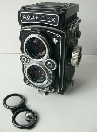 Vtg 1954 Rolleiflex 3.  5 Tlr Camera With Zeiss Tessar Lens 1 Owner Xlnt No Reserv