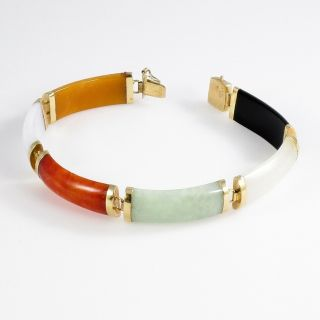 Jade Links Bracelet Vintage Chinese 14k Yellow Gold Multi - Color 14.  2 G | 7.  25 ""