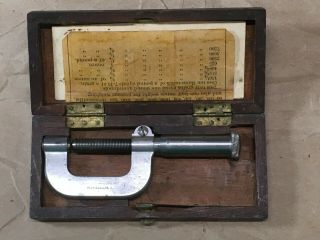 Vintage Brown & Sharpe Micrometer - - Rare Early Version With Exposed Threads