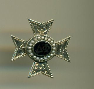 Rare 1864 Delta Phi Fraternity 14k Gold Pearl Pin Badge - Columbia - Really Old