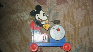 Mickey Mouse Fisher Price Toy Vintage Pull Toy