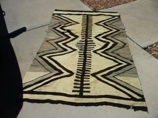 Vintage Navajo Traditional Or Chief Blanket Rug Rare Pattern 48 X 74 ""