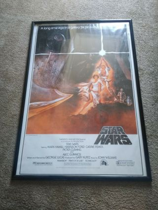 Vintage 1977 Star Wars One Sheet Style A Movie Poster 77/120 1993 Guc