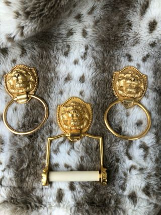 Vtg Sherle Wagner 24kgold Plated Lionhead Wall Towel Rings & Toilet Paper Holder