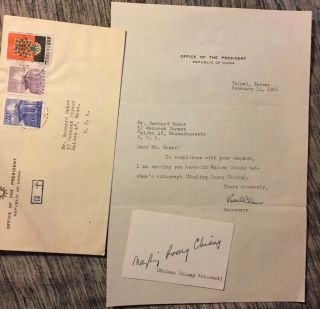 Madame Chiang Kai - Shek Autograph,  Signed Vintage Card 1961