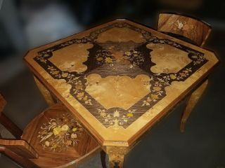 Vintage Italian Marquetry Laquered Game Table Roulette Chess Bckgammon Inlaid