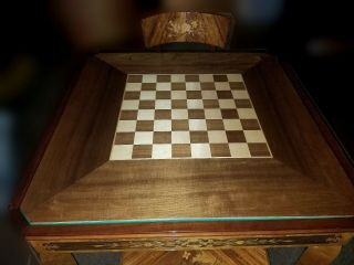 Vintage italian marquetry laquered game table roulette chess bckgammon inlaid 3