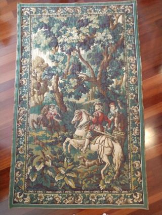 Vintage Flemish/ French Aubusson Tapestry Wall Hanging Of Falconry Hunt Scene