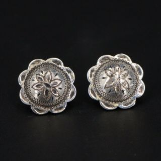 Vtg Sterling Silver - Western Rodeo Saddle Concho Post Stud Earrings - 5g
