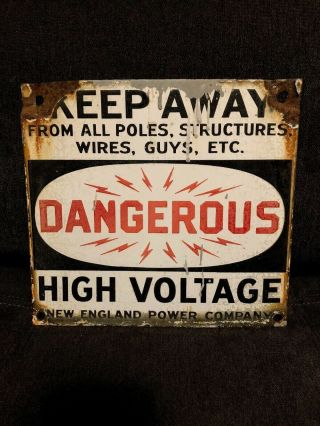 Vintage Double Sided Porcelain Dangerous High Voltage Sign England Power Co.