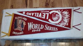 Two 1948 Cleveland Indians World Series Pennant Vintage Color 4 Museum