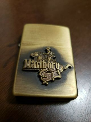 Rare Vintage Collectors 1982 Marlboro Zippo Cowboy Horse Lighter W Box