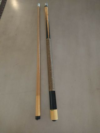 Vintage 70s Mali Pool Cue Stick 4 Points Green Label Rare 19.  25 Oz Professional
