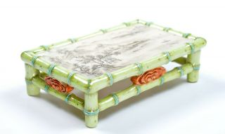 A Very Rare Chinese Famille Rose Porcelain Brush Rest