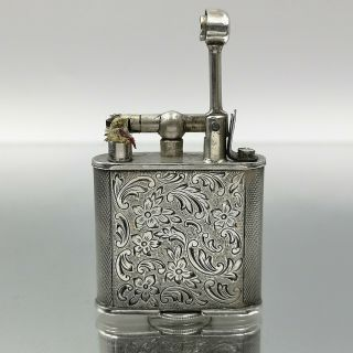 Great Rare Solid Silver 900 Petrol Dunhill Form Lighter Feuerzeug