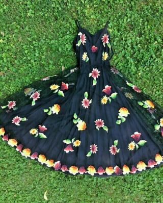 Rare Vintage 1930s Fully Lined Net Dress W/ Hand Painted Floral Appliqués