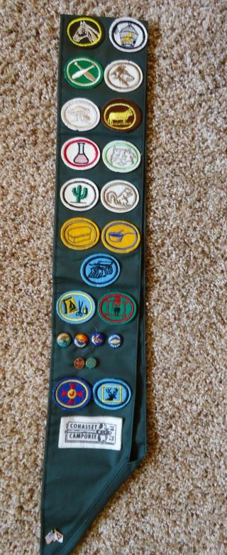 Vintage Sda Mv Club Pathfinder Sash With 7 Pins,  23 Honor Patches,  & 3 Camporee