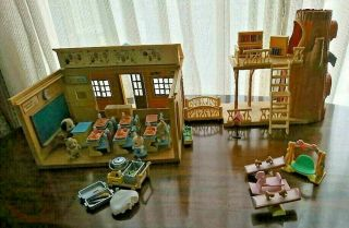 Sylvanian Families Calico Critters Vintage Forest School & Lunch Set Rare 103