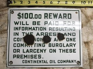 Vintage Porcelain Continental Oil Company Reward Gas Oil Gasoline Auto Sign