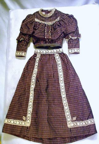 Magnificent Victorian Style Dress For Antique French Fashion Or China Head Doll