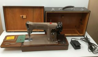 Vintage Singer Electric Sewing Machine Model 201k With Storage Case