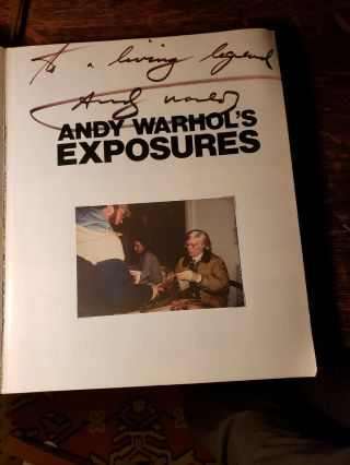 "Rare - Double - Signed Andy Warhol "" Exposures "" Book,  @1979 - 1st Edition,  W/photo"