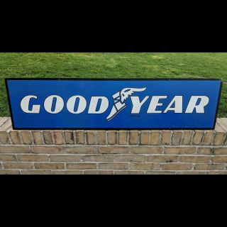 Vintage Goodyear Tires Dealer Double Sided Metal Sign Gas Station Oil