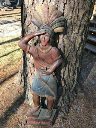 Vintage Cigar Tobacco Store Indian Wooden Hand Carved By Lowell E Sturrup