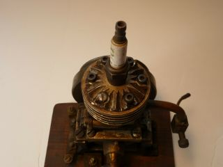 Vertical hit miss gas engine Rare Early Model 9 inches tall mounted 10