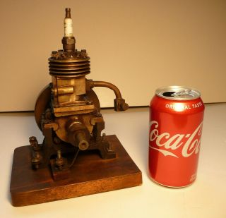Vertical Hit Miss Gas Engine Rare Early Model 9 Inches Tall Mounted