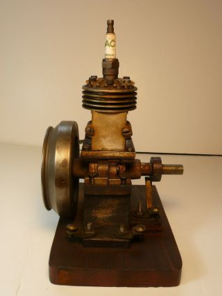 Vertical hit miss gas engine Rare Early Model 9 inches tall mounted 5