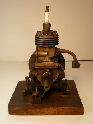 Vertical hit miss gas engine Rare Early Model 9 inches tall mounted 6