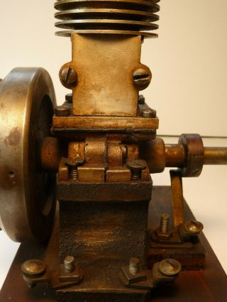 Vertical hit miss gas engine Rare Early Model 9 inches tall mounted 9