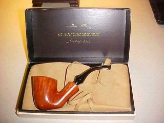 """Savinelli """" Autograph """" Smooth Bent Pipe 00 Nos Box & Leather Cover Rare"""