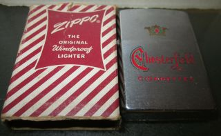 Vintage Rare 1958 Chesterfield Cigarettes Zippo Lighter W/ Box