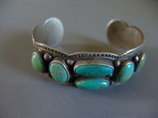 Large And Heavy Vintage Navajo Silver And Turquoise Bracelet With 6 Stones