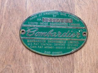 Vintage Antique Ski - Doo Bombardier 1965 Olympic Brass Tag