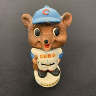 Vintage 1960s Chicago Cubs Round White Base Nodder Bobblehead Cubby Bear Bh01
