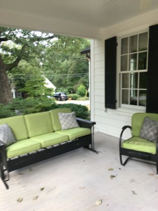Metal Vintage Porch Glider And Chair For Patio Upholstered Cushions