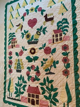 """Rare 2 Vintage Hand Quilted,  Appliqued Quilts 80 """" By 98 """" Very Good Cond.  Folk Art"""